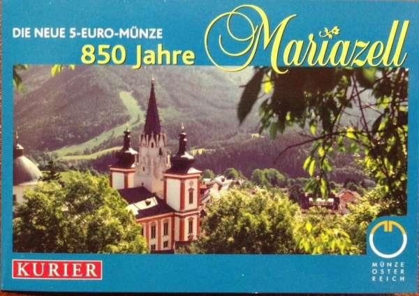 5 Euro Silber 2007 850 Jahre Mariazell Blau + Grün ANK Nr.10c