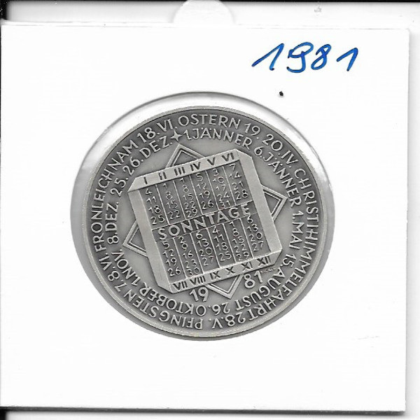 Kalendermedaille Jahresregent 1981 Bronze versilbert