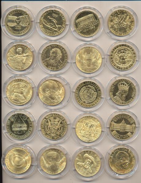 50 Schilling Silber Serie 20 Stück 24 Karat Vergoldet selten