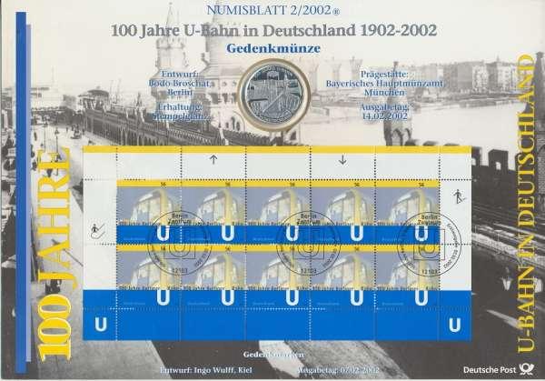 """Numisblatt Deutschland 2002/2 """"100 Jahre U-Bahn in Deutschland"""" mit 10€ Silbermünze Gedenkmünze"""