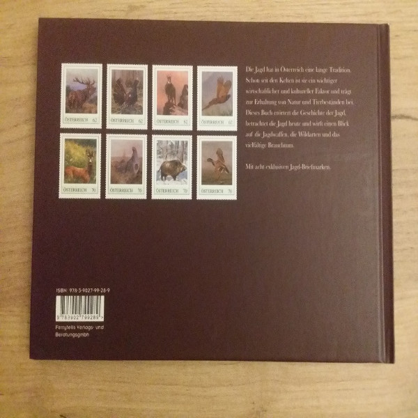 Briefmarkenbuch Jagd in Österreich mit 8 exklusiven Marken