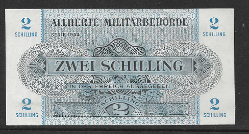 2 Schilling 1944 Pick 104 b) mit WZ Militäry Alliierte Militärbehörde