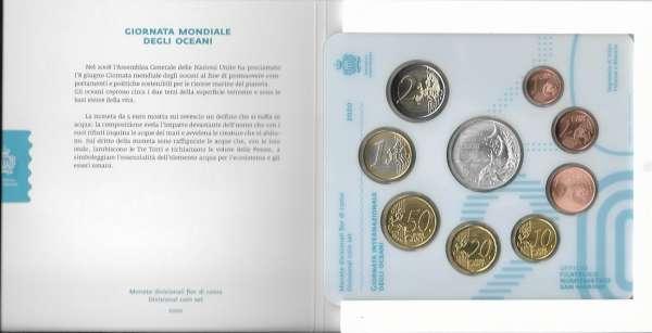 Kursmünzensatz Blister San Marino 2020 mit 5 Euro Siber KMS Coinset Münzset