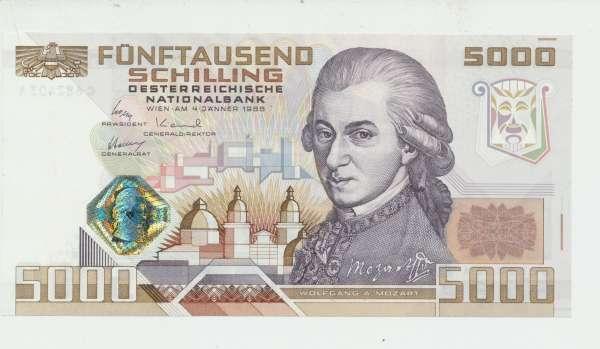Pick 153 5000 Schilling 1988 Wolfgang Amadeus Mozart Erh.1 unc, C 682403 A Ank.Nr. 290