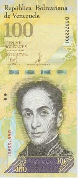 Venezuela – 100 Bolivares 13.12.2017, (P.) Erh. UNC