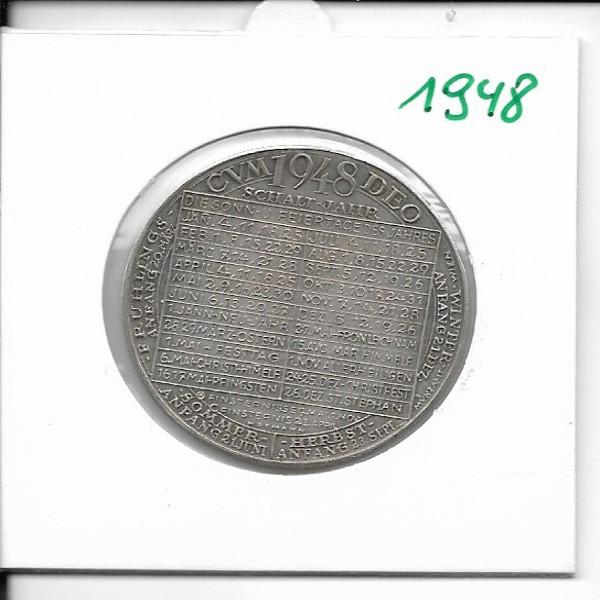 1948 Kalendermedaille Jahresregent Bronze versilbert