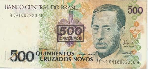 Brasilien- 500 Cruzeiros on 500 Cruzados Novos 1990 UNC - Pick 226