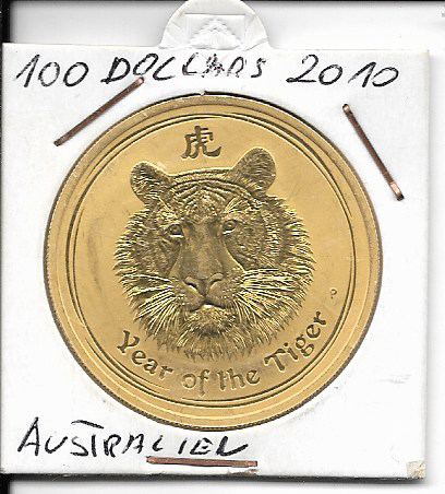 Australien 2010 Gold 31,1g 1 oz Tiger 100 Dollars 1 Unze