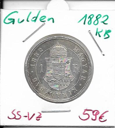 1 Gulden Forint 1882 KB Silber Franz Joseph