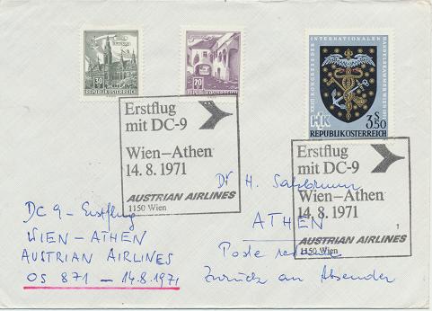 Erstflug Aua DC-9 Wien - Athen 14.8.1971