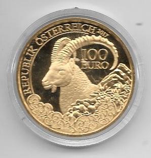 2017 - 100 Euro Gold Der Steinbock (2017) Nur Münze