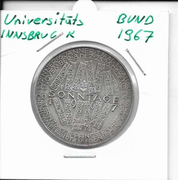 1967 Kalendermedaille Jahresregent Universität s Bund Innsbruck Bronze versilbert