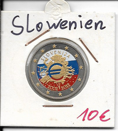 2 Euro Slowenien 2012 10 Jahre Euro Coloriert