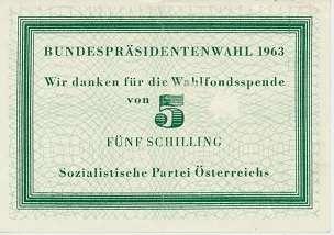 Bundespräsitendenwahl Wahlfondspende SPÖ Wahlfonds 1963 5 Schilling