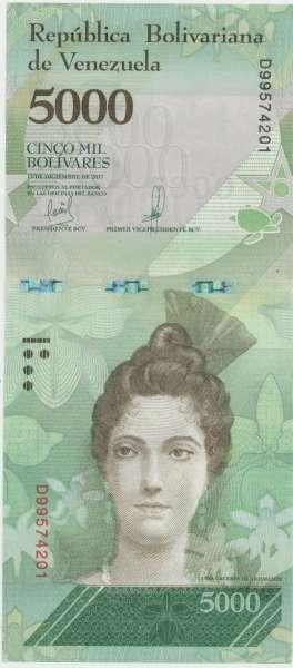 Venezuela – 5000 Bolivares 13.12.2017, (P.97c) Erh. UNC