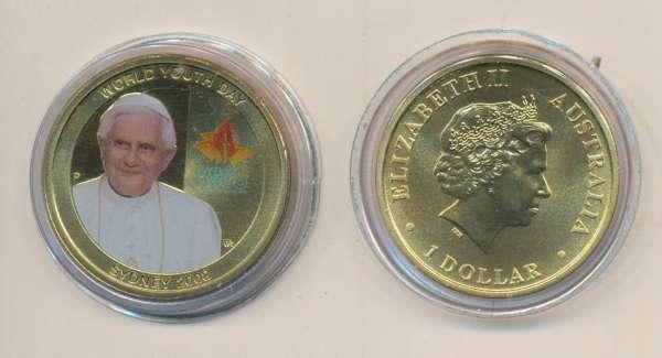 Australien 1 Dollar 2008 World youth Day Papst Benedikt XVI