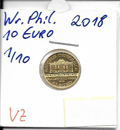 2018 Philharmoniker 1/10 Unze 10 € Euro 3,11 Gramm