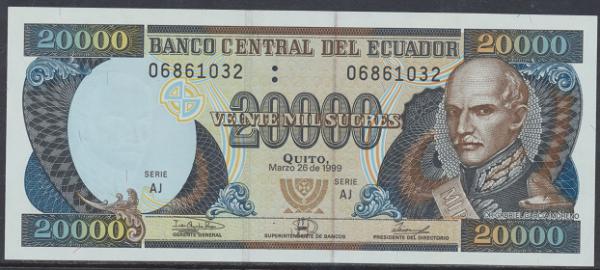 Ecuador – 20.000 Sucres (1999) (Pick 129) Erh. UNC