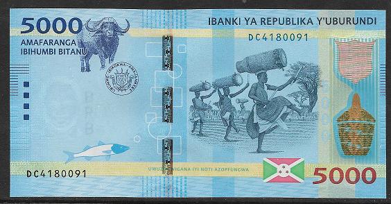 Burundi- 5000 Francs 2015 UNC - Pick 53