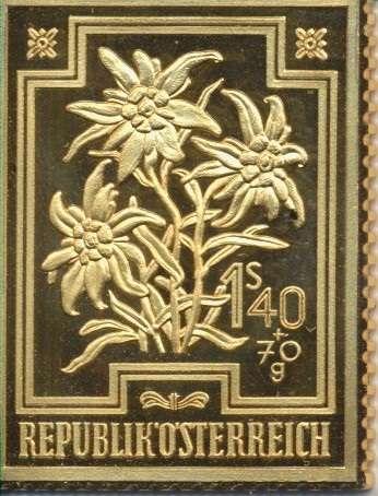 Collection Magna Austria Silber Österreich Heimische Blumen Edelweiß 1948 24 Karat Vergoldet