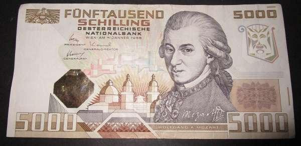 5000 Schilling 4.1.1988 Wolfgang Amadeus Mozart Gebraucht A501011N Ank.Nr. 290 Pick 153