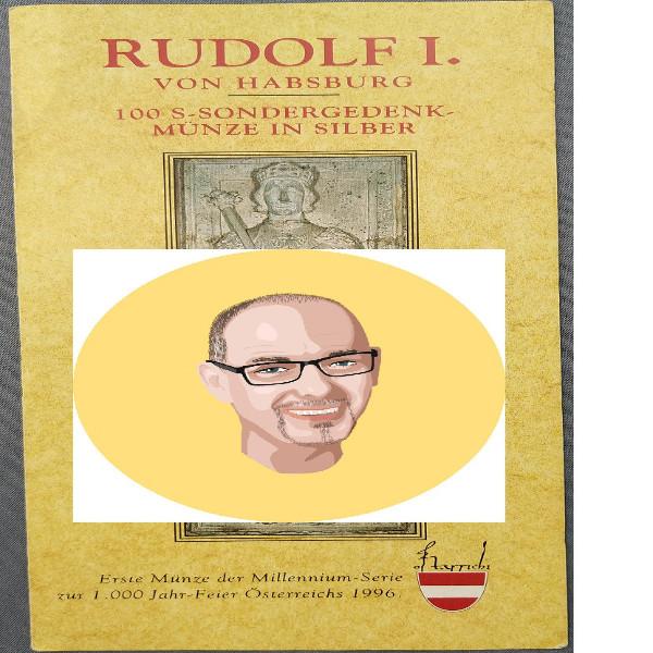 1991 100 Schilling - Rudolf I silber nur Flyer Folder