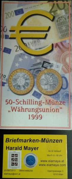 50 Schilling 1999 Währungsunion Blister HgH Bimetall