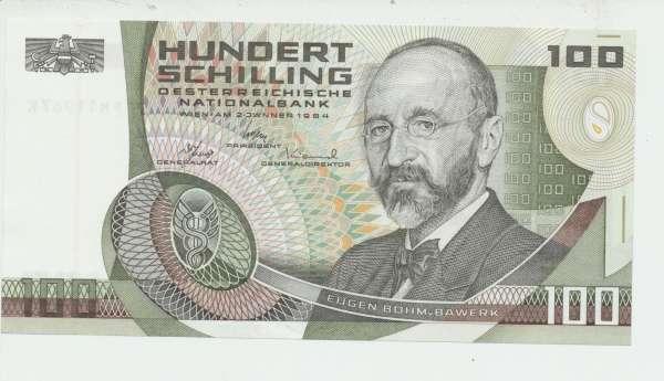100 Schilling 2.1.1984 Eugen Böhm v. Bawerk Ank. 287b Erh.1 Nr.FH 11967 K Pick 150