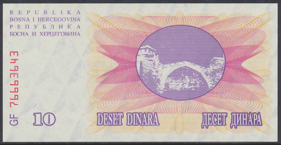 Bosnien Herzogowina- 10 000 Dinara 15.10.1993 unc - Pick Nr.53a Grün