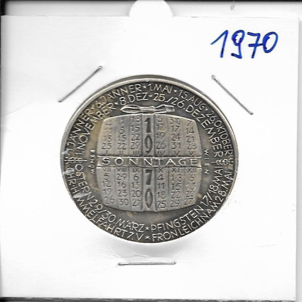 1970 Kalendermedaille Jahresregent Bronze versilbert