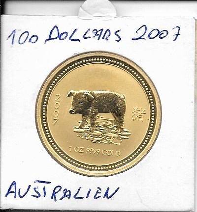 Australien 2007 Gold 31,1g 1 oz Schwein 100 Dollars 1 Unze