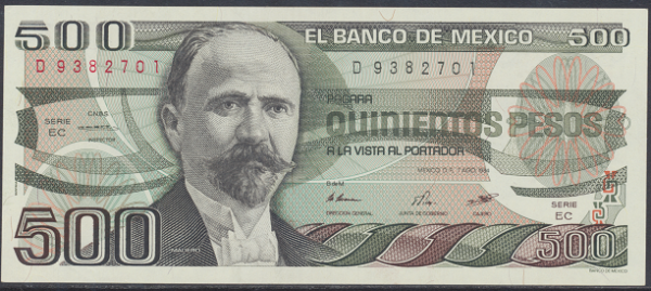 Mexiko- 500 Pesos 1984 UNC - Pick 79