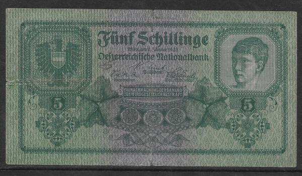5 Schilling 2 Jänner 1925 Ank.Nr.211 Pick 88 Nr. 1027 674625