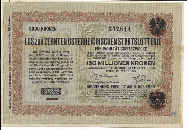 Donaustaat Noten 10.000 Kronen mit Lotterieaufdruck Lotterie 1923 ANK198