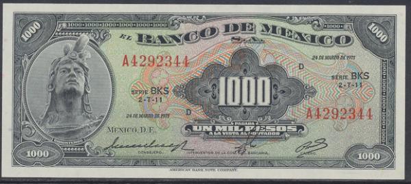 Mexiko- 1000 Pesos 1971 UNC - Pick 52