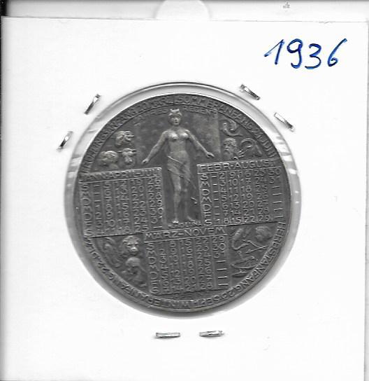 1936 Kalendermedaille Jahresregent Silber