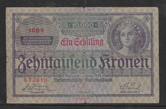 1 Schilling 10000 Kronen 2.1.1924 Pick 87 Ank 210 Nr 1009-572810