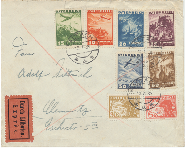Österreichischer Flugpost Marken auf Brief 13.6.1936 Express