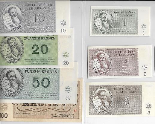 1 Krone Serien 1-10 Kronen Theresienstadt 1.1.1943 neuwertig