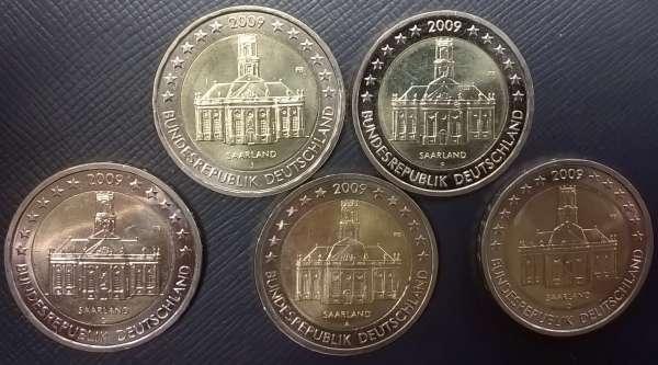 2 Euro Deutschland 2009 Saarland alle 5 Prägestätten A,D,F,G,J