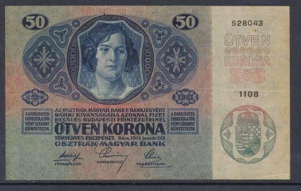 50 Kronen 2.1.1914 Nr.1108 528043 Deutschösterreich ANK 174