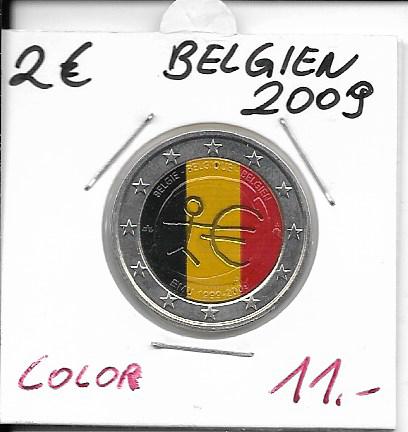 2 Euro Belgien 2009 WWU Coloriert