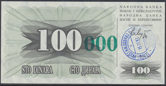 Bosnien Herzogowina- 100 000 Dinara 15.10.1993 unc - Pick Nr.56a Grün