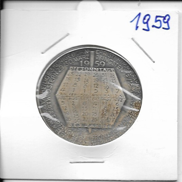 1959 Kalendermedaille Jahresregent Bronze versilbert