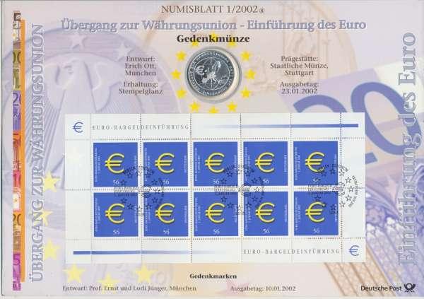 """Numisblatt Deutschland 2002/1 """"Einführung des Euro"""" mit 10€ Silbermünze Gedenkmünze"""