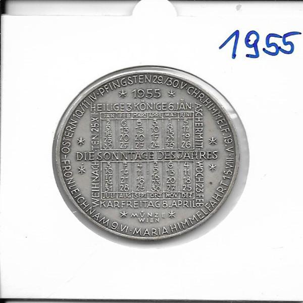 1955 Kalendermedaille Jahresregent Bronze versilbert