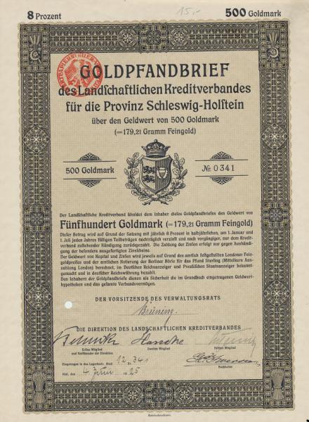 Schleswig Holstein Goldpfandbrief 500 Goldmark 1925