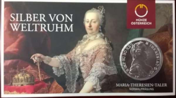 1 Maria Theresia Taler 23,3 gr. Feinsilber im Blister Normalprägung