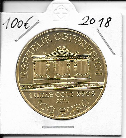 2018 Philharmoniker 1unze 100 Euro 31,1 Gramm