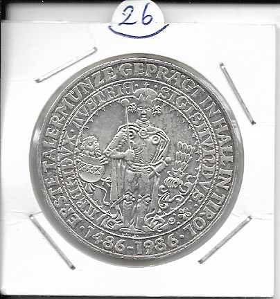 ANK Nr. 26 500 Jahre Haller Taler 1986 500 Schilling Silber Normal
